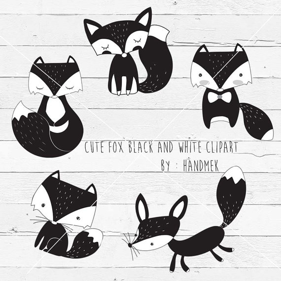 Black and white fox fox doodlecute fox clip art instant by.