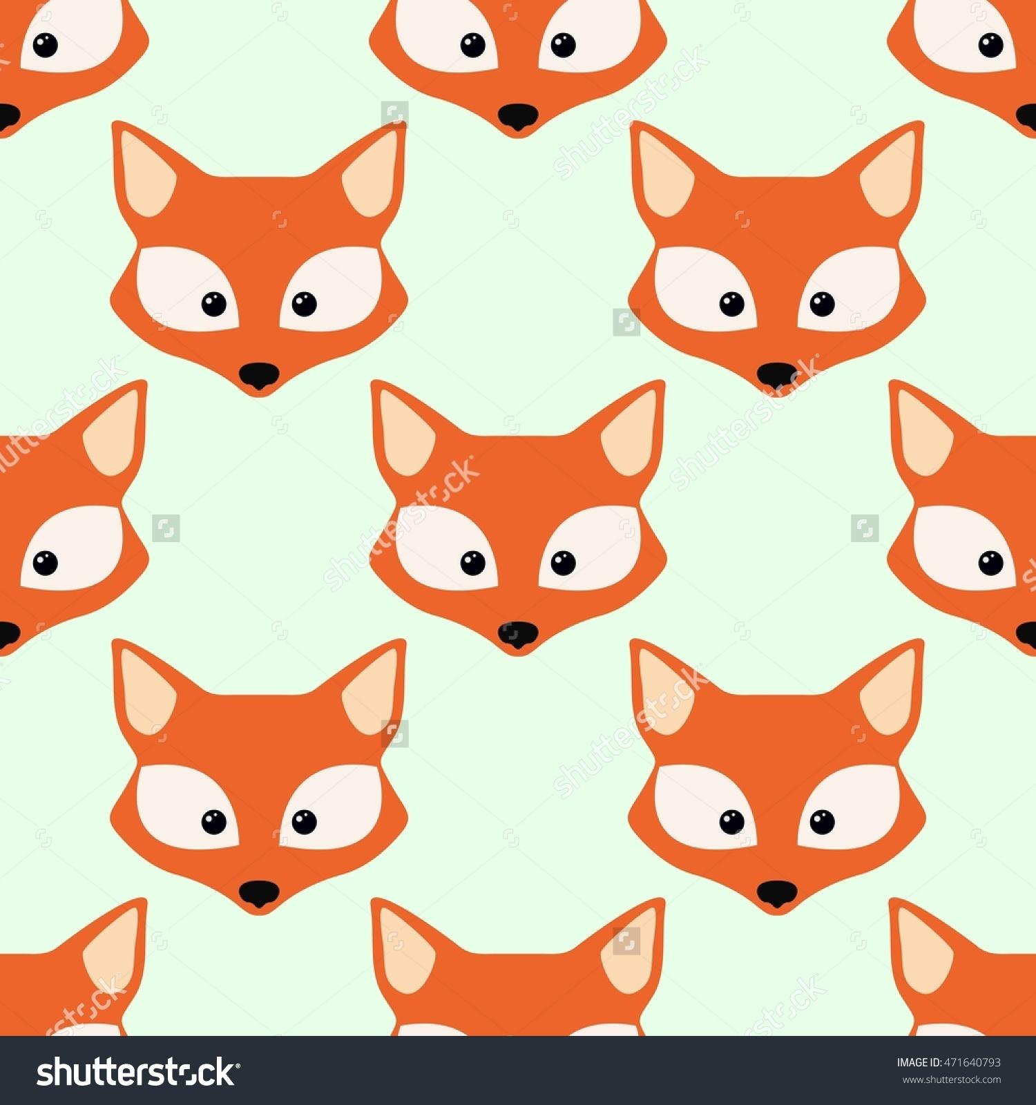 Cute Fox Face Seamless Wallpaper Stock Vector 471640793.