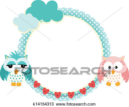 Cute frame with owls couple Clipart.