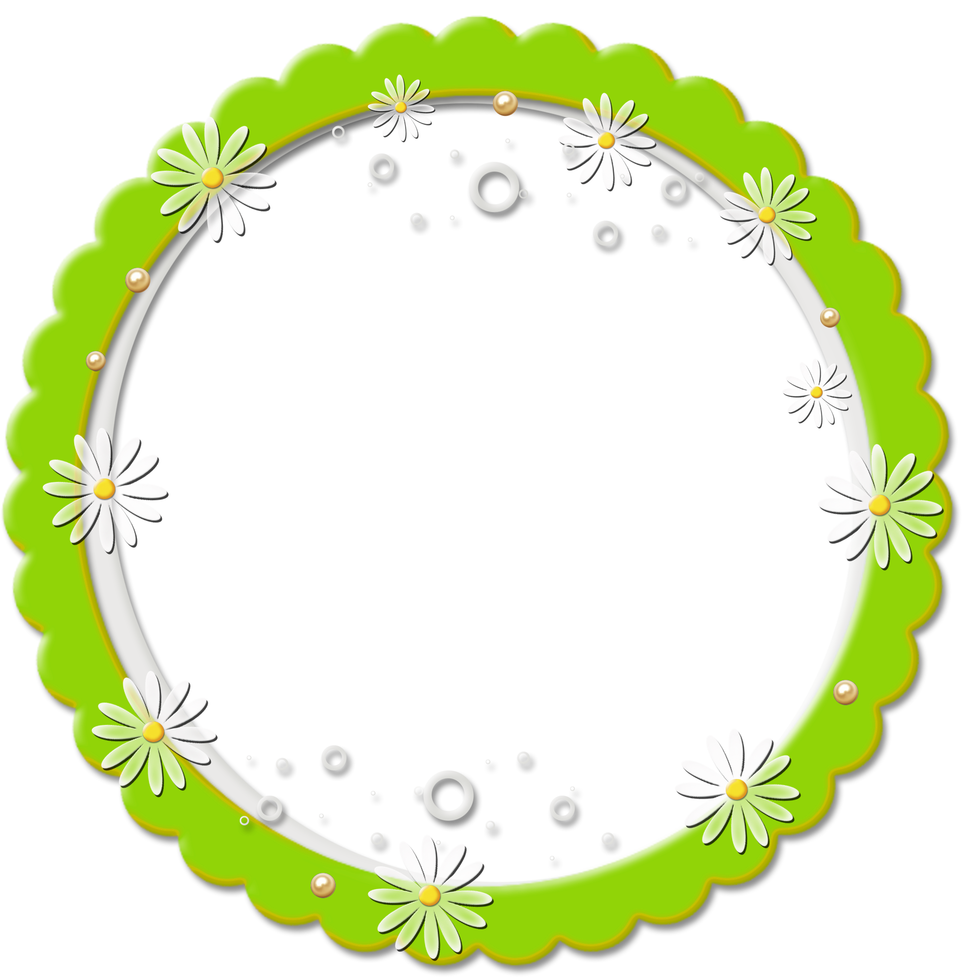 Cute PNG Round Daisy Frame.