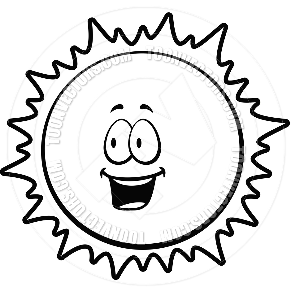 Cute Sun Clipart Black And White.