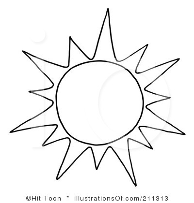 Clipart sun black and white.