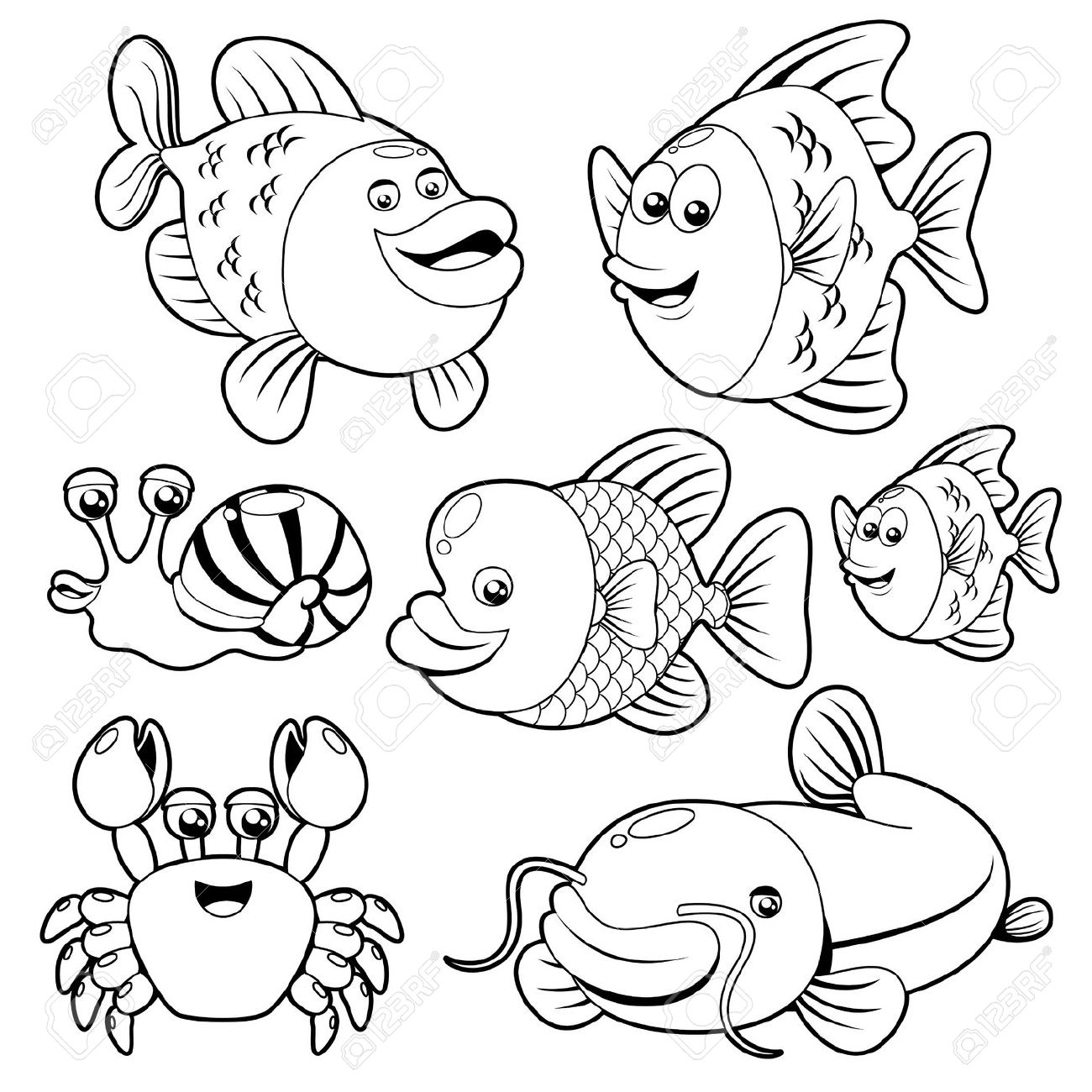 Ocean Animals Clipart Black And White Fishs black and white.