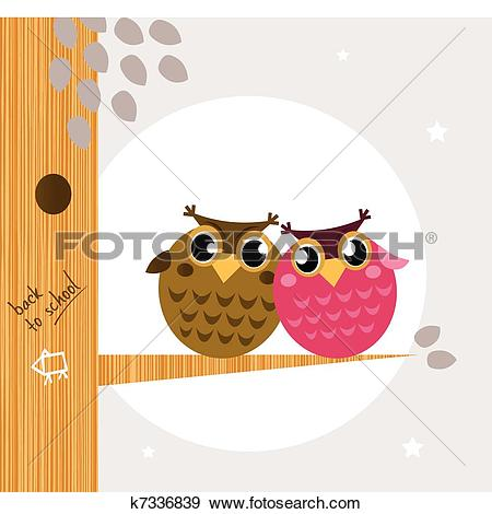 Clip Art of Two cute owl friends sitting on the branch k7336839.