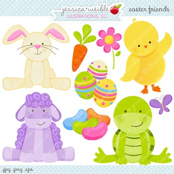Easter Friends Cute Digital Clipart, Easter Bunny Clip Art.