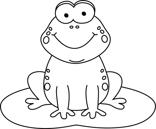 Free Frog Clipart Black and White Image.