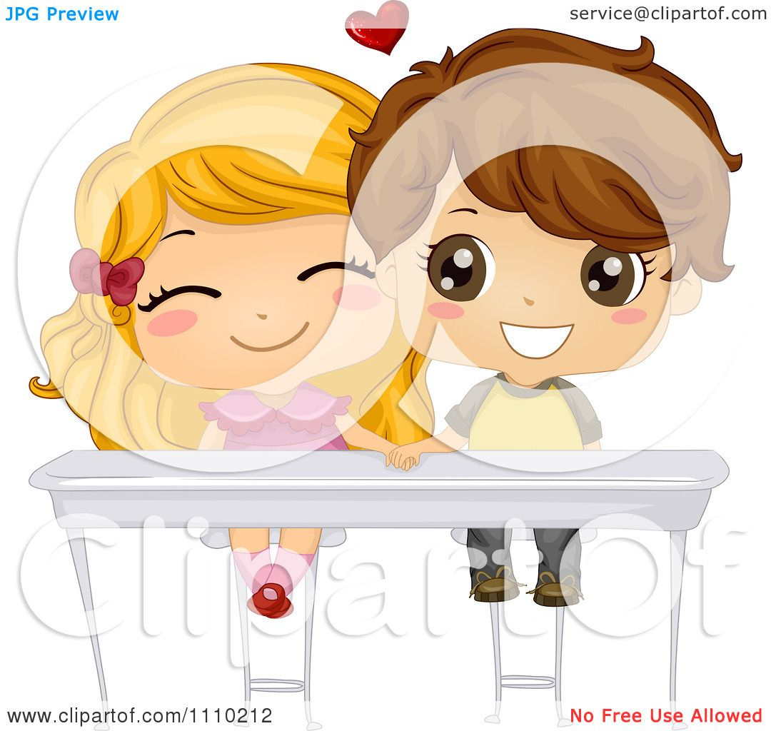 Clipart Cute School Boy And Girl Holding Hands Under Their Desk.