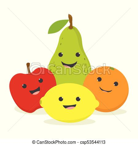 set with cute fruits.