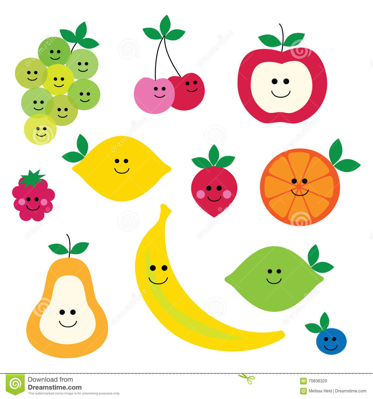 Fruit with faces clipart stock illustration. Illustration of cherry.