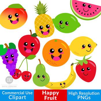 Happy Fruit Clipart, Cute Fruit Graphics, Kawaii Fruit, Healthy Food Clipart.