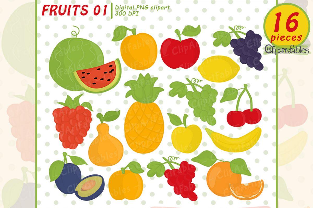 Cute fruits clipart.