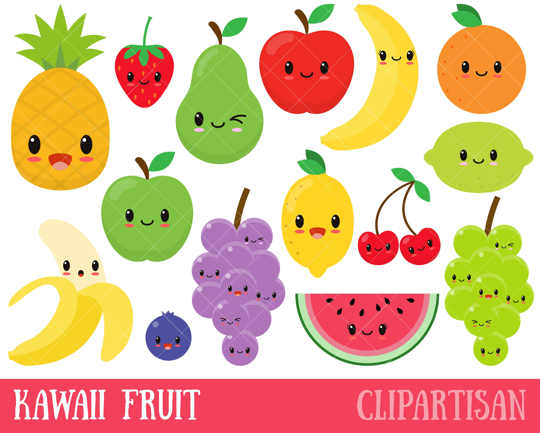 Kawaii Fruit / Cute Fruit Clipart / Happy Fruit Clip Art.