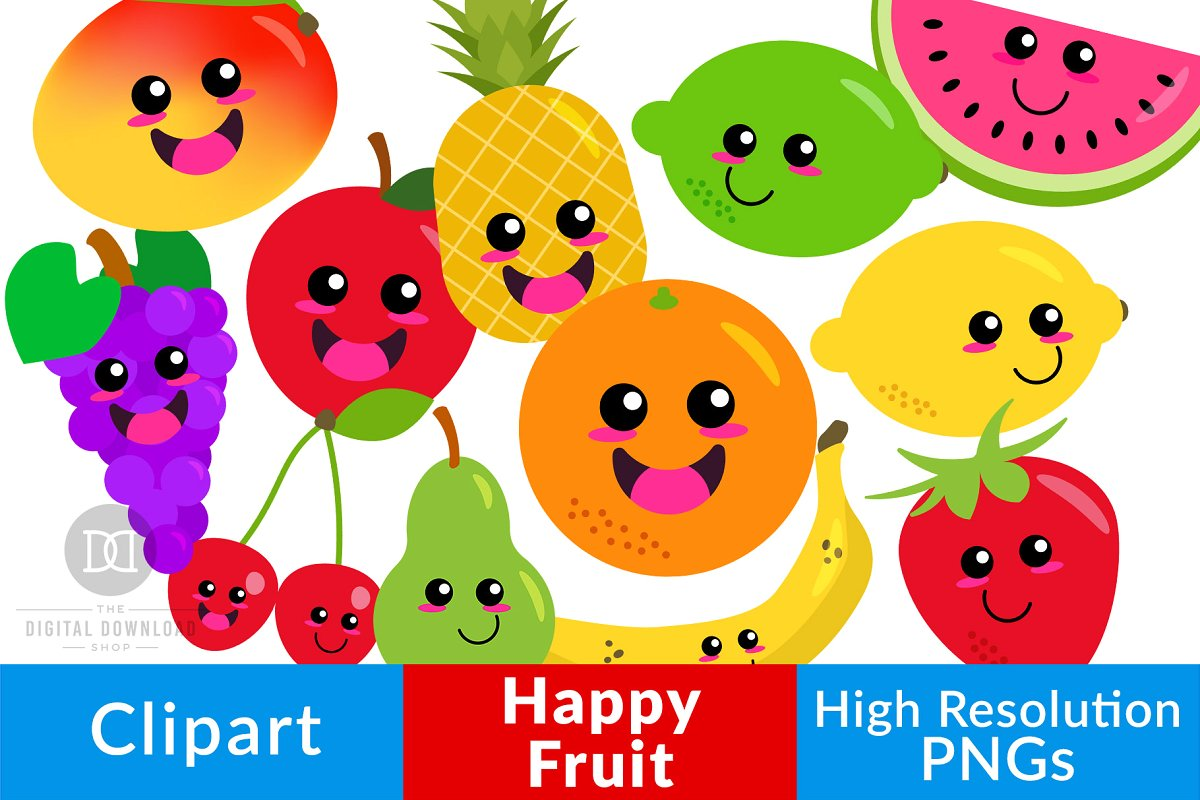 Happy Fruit Clipart, Cute Fruit.
