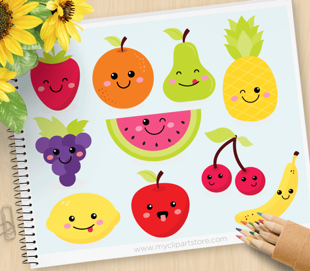 Cute Fruit Kawaii Clipart.