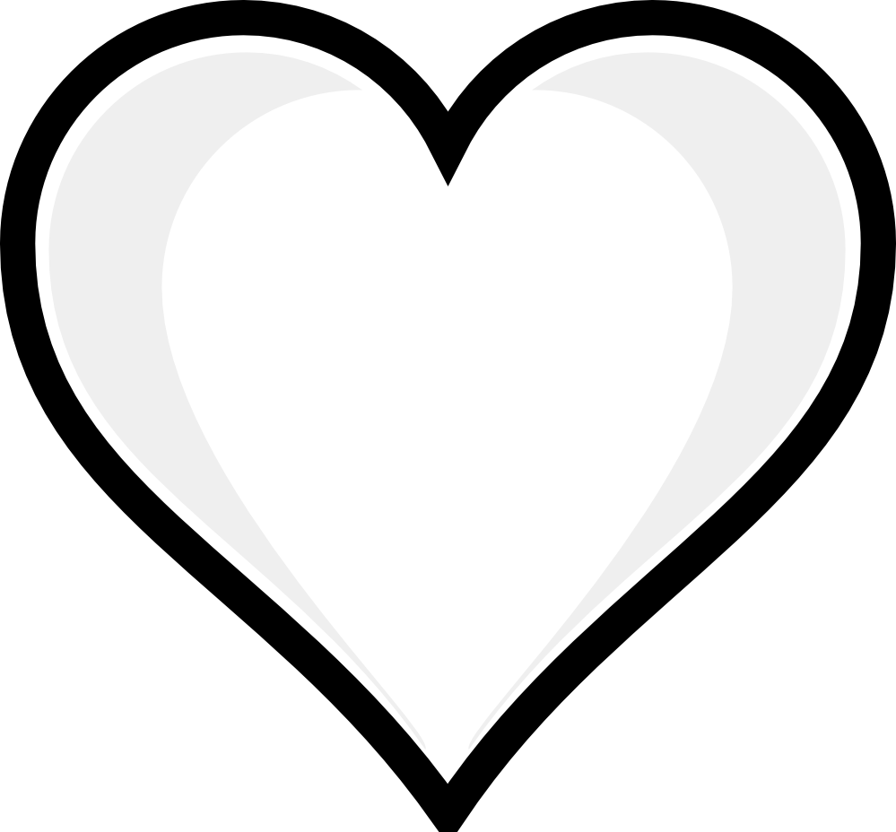 Cute funky shaped heart black and white clipart.