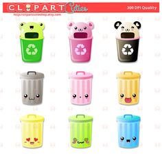 cute garbage can clipart #10