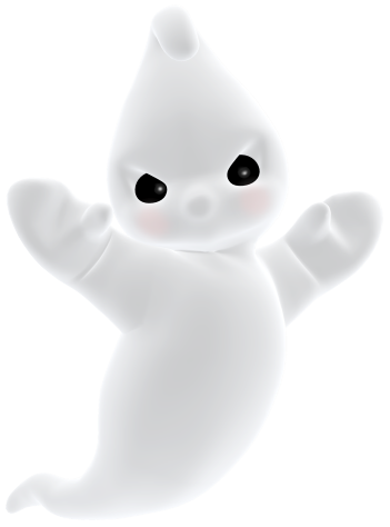 3D Angry Cute Ghost PNG Clipart.