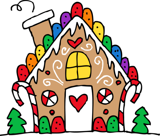Cute Gingerbread House Clipart.