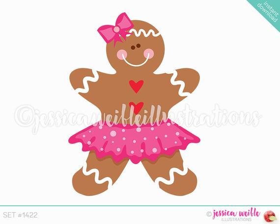 Instant Download Cute Gingerbread Girl Tutu Digital Clipart, Cute.