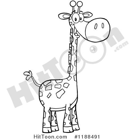Giraffe Clipart #1188491: Black and White Cute Happy Giraffe by.