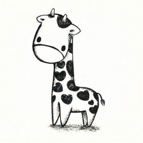 Cute Giraffe Clipart Black And White Holding A Heart.