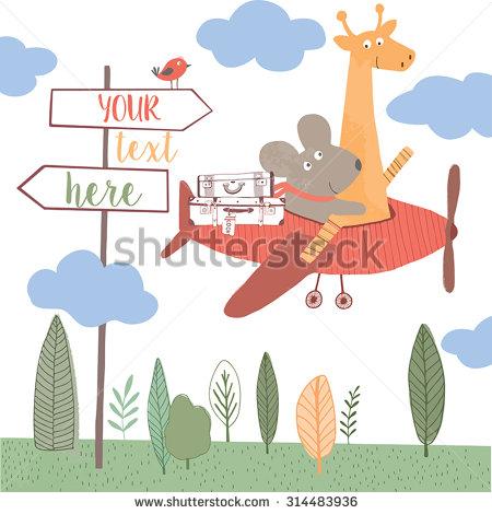Cute Giraffes In Planes Clipart.