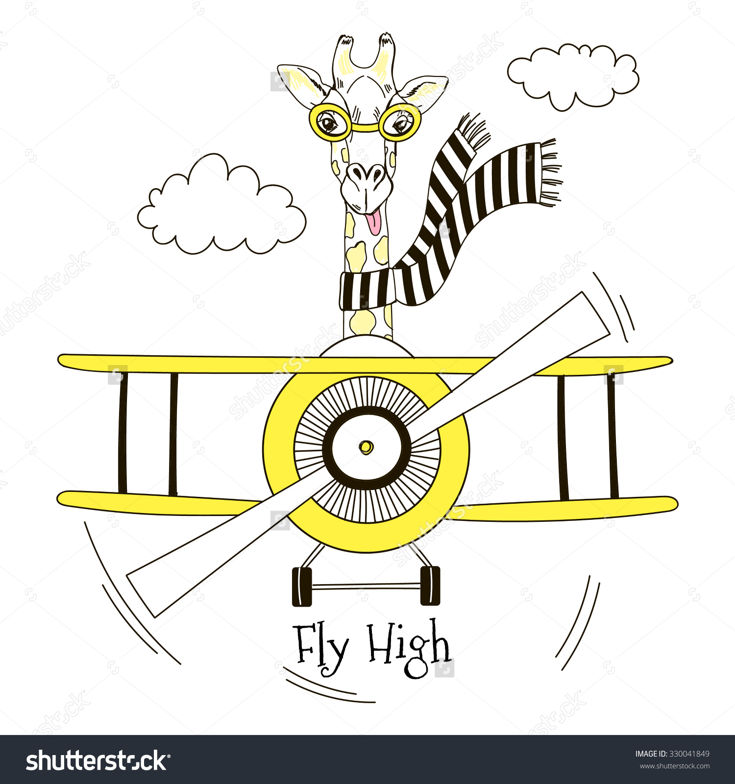Cute giraffes in planes clipart.