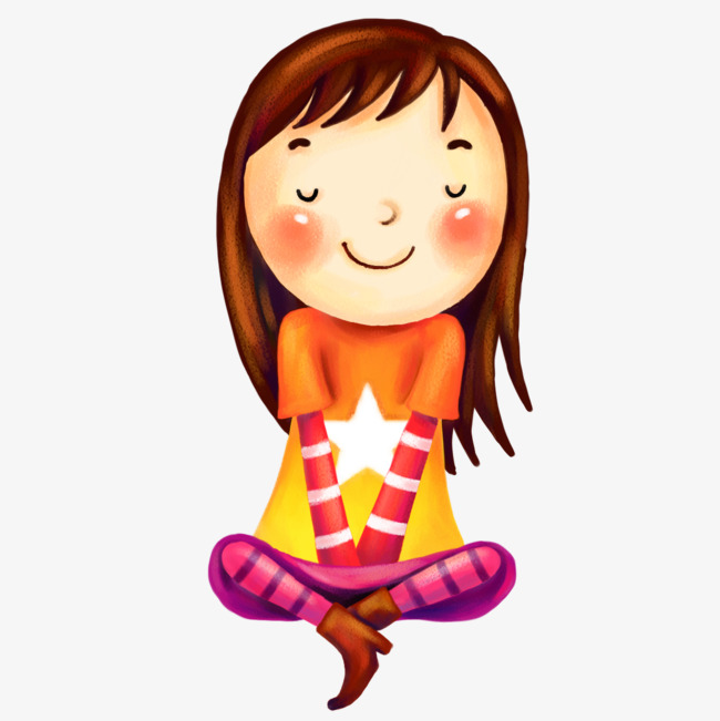 Cute Girl Sitting Clipart Star Long Hair PNG Image And Limited.