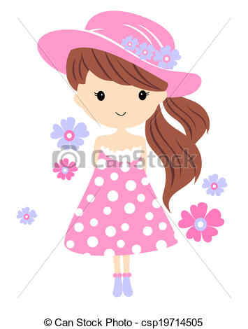 Cute girl vector illustration.