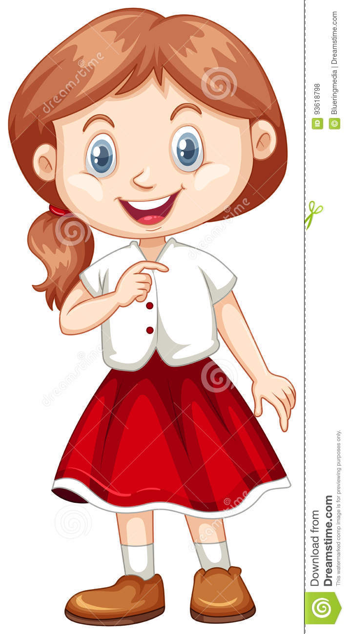 Cute Girl In White Shirt And Red Skirt Stock Vector.