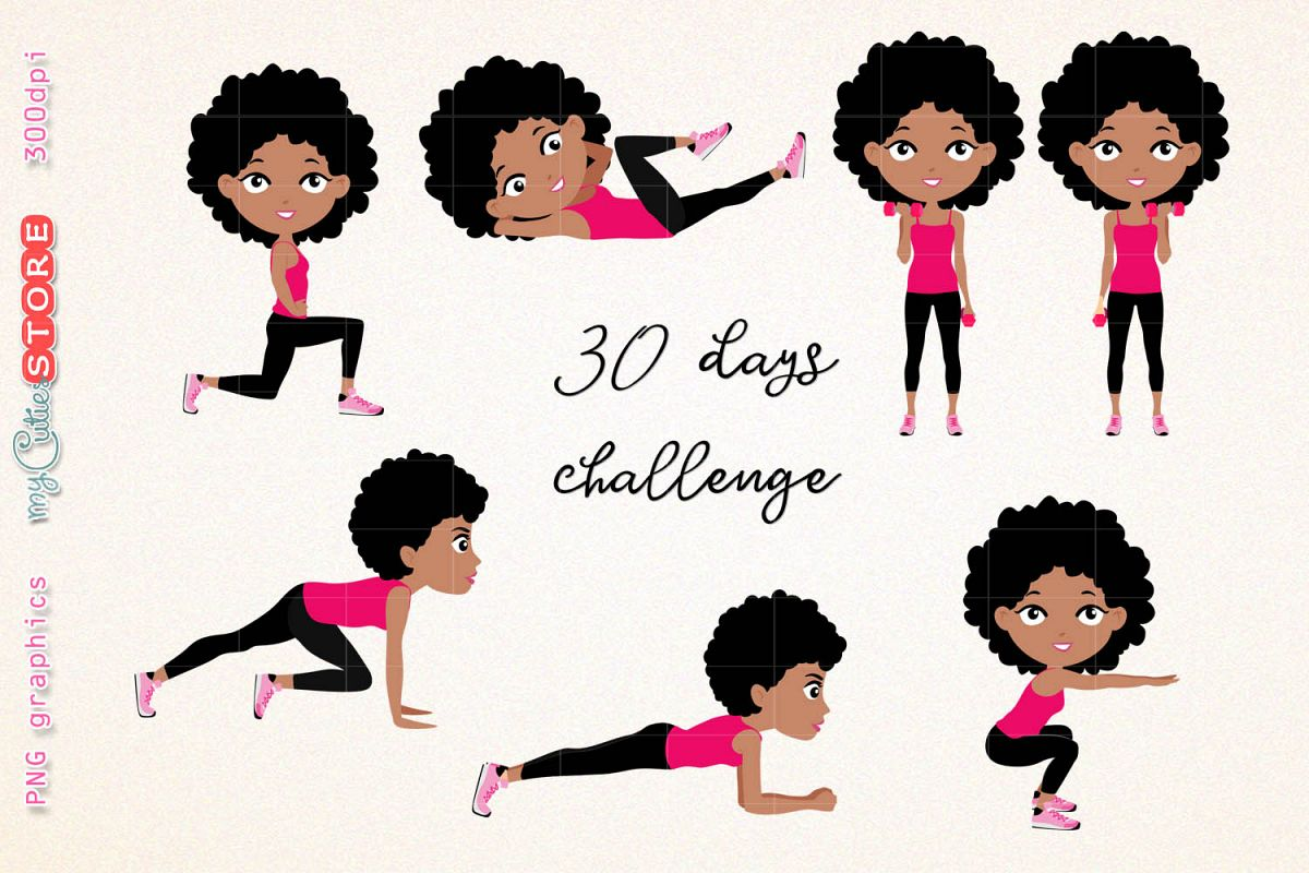 Afro girl fitness workout. cute girl 30 days challenge clipart, clip art  illustration workout set for planner stickers, scraps or digital planning..