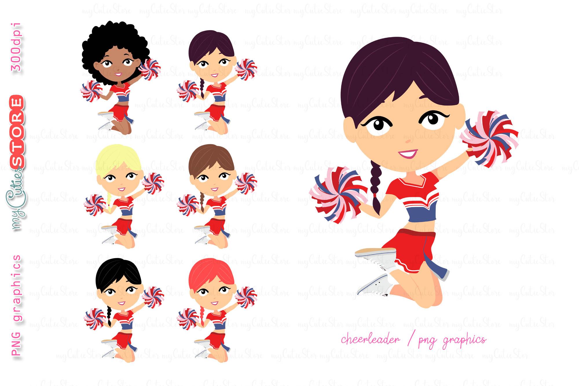 Cheerleader girl clipart, cute girls jumping.
