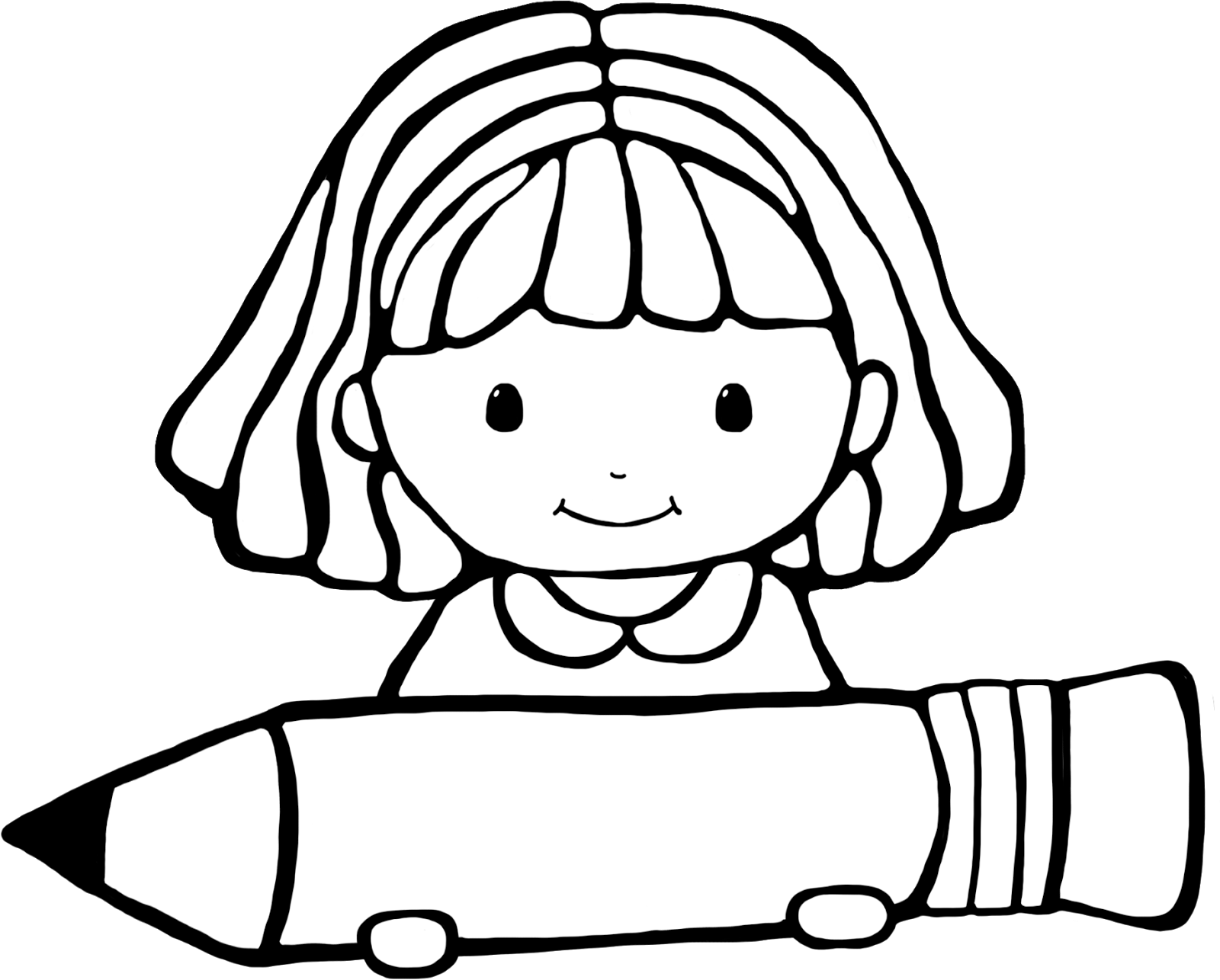 cute girl clipart black and whitw - Clipground
