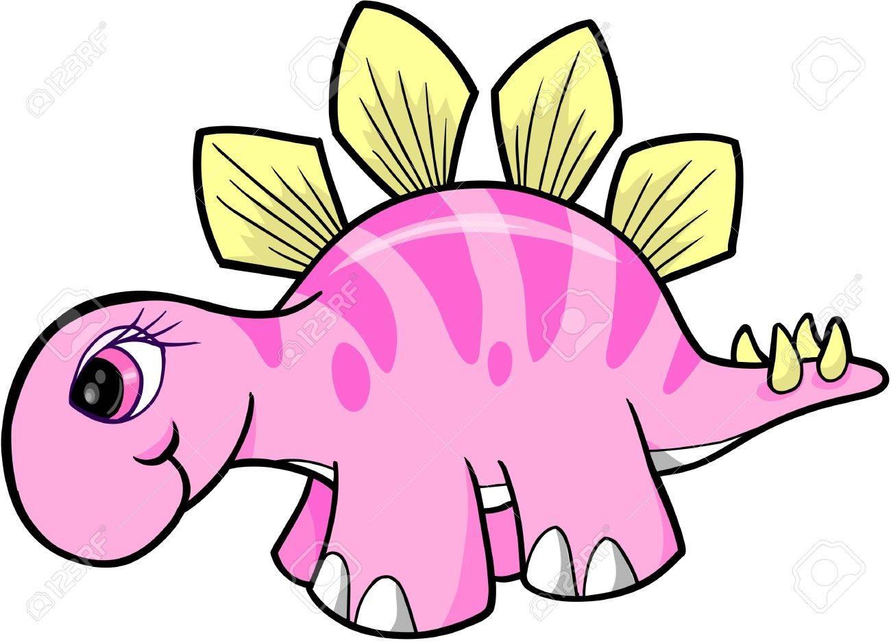 Girl Stegosaurus Dinosaur Vector.