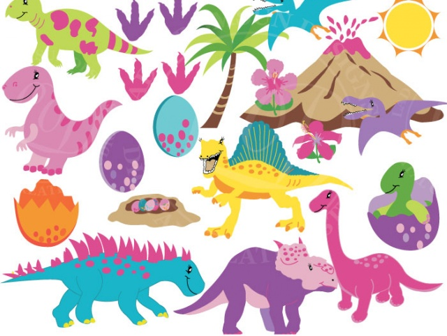 Dinosaurs for girls Clipart, Girl Dinosaurs, baby girls dino, baby  dinosaur, trex clipart, cute animal, dino party, Commercial.