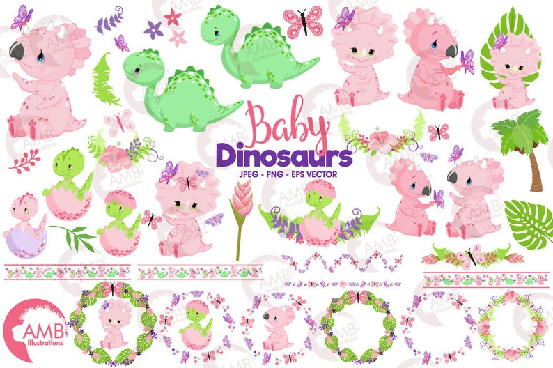 Dinosaur clipart, baby dinosaur, Girl dinosaurs, Baby dino clipart, nursery  clipart, dinosaur for babies, Commercial Use, AMB.