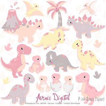 Pink Dinosaur Digital Clipart, Cute animals illustrations.