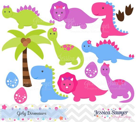 INSTANT DOWNLOAD, Girls Dinosaur Clipart, Dinosaurs for girls, Dino.