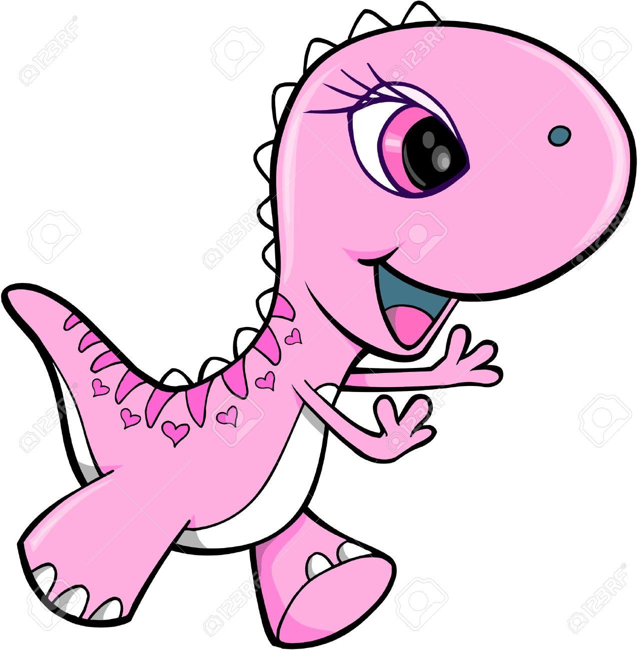 Pink Girl Dinosaur Animal Vector Illustration Art.
