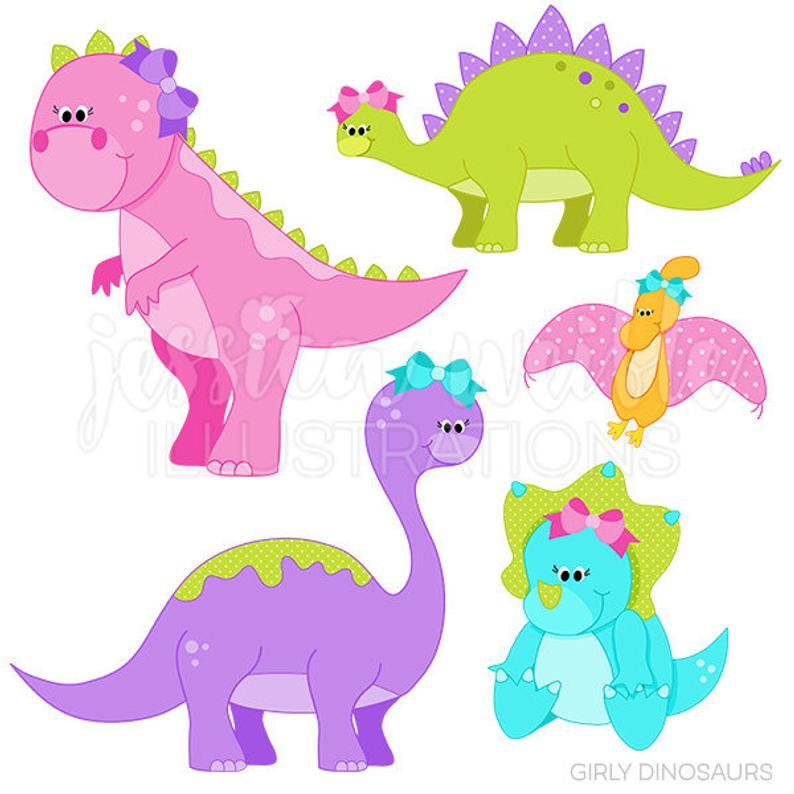 Girly Dinosaurs Cute Digital Clipart.