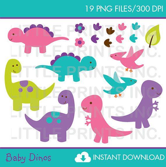 Baby Girl Dinosaur Clipart / Pink Dinosaur Clip Art PERSONAL USE.
