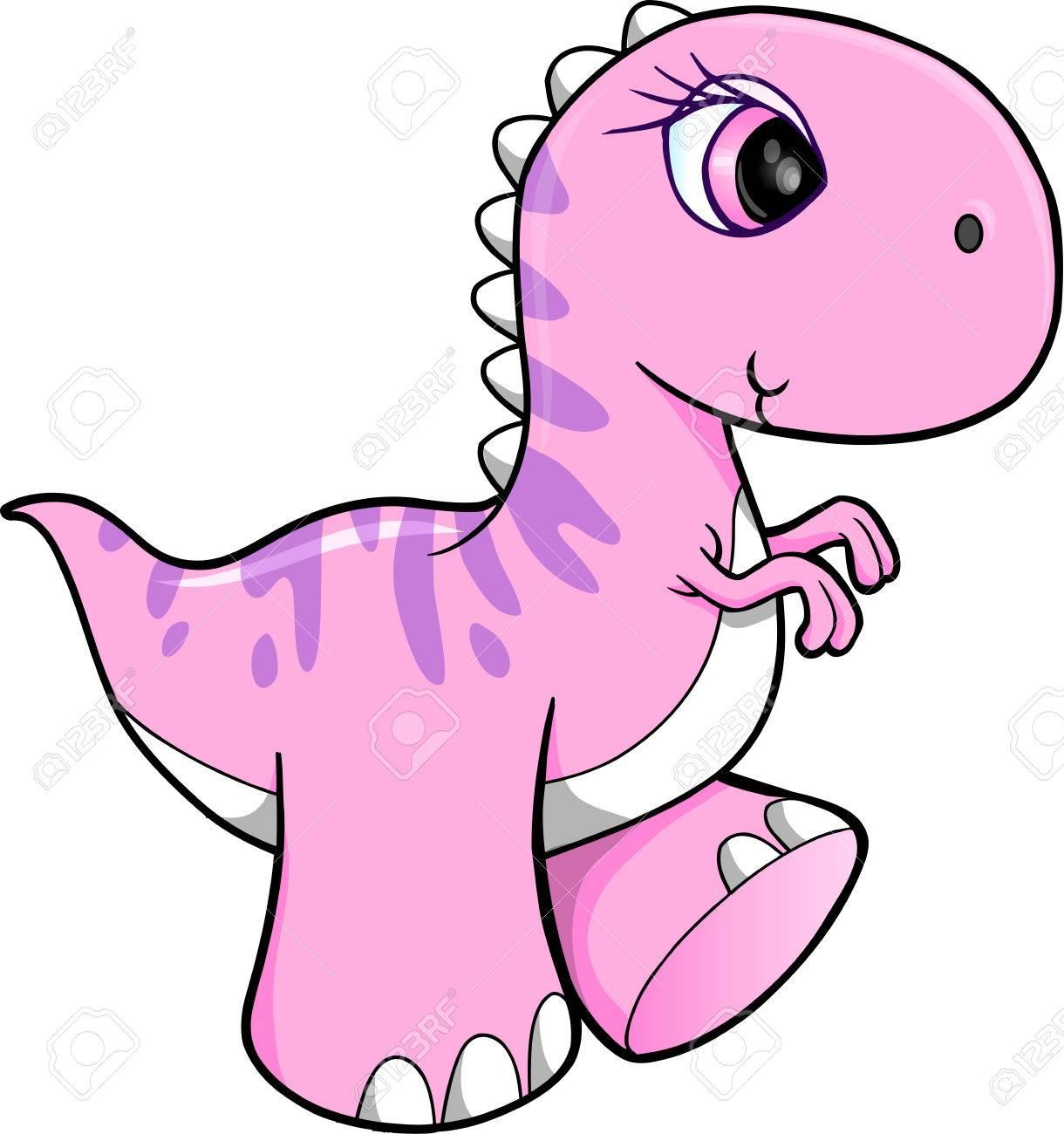 Cute Pink Dinosaur Vector Illustration Art.