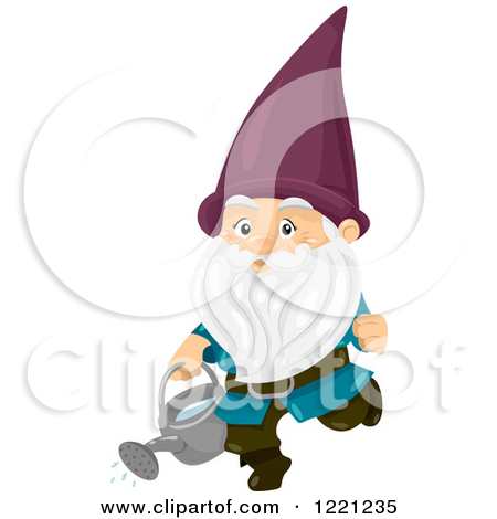 Clipart of a Green Garden Gnome Carrying a Watering Can.