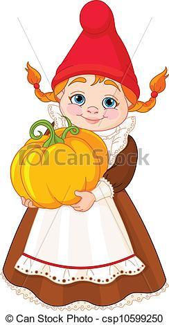Clipart Vector of Garden Gnome with pumpkin.
