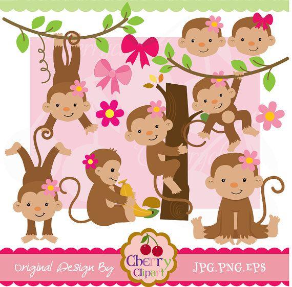 Cute girl monkeys digital clipart set for.