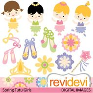 Clip art: Spring Tutu Girls (cute ballerina clipart, ballet shoes).