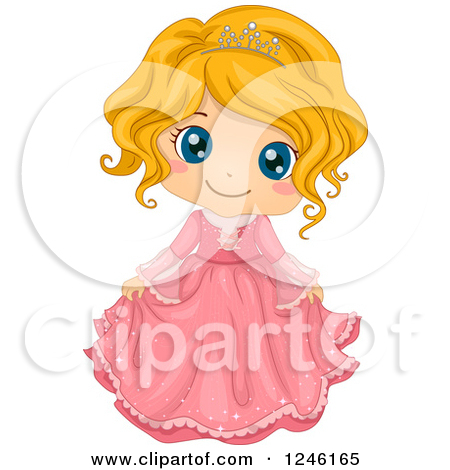 Clipart of a Cute Bkacj African Princess Girl in a Yellow Dress.