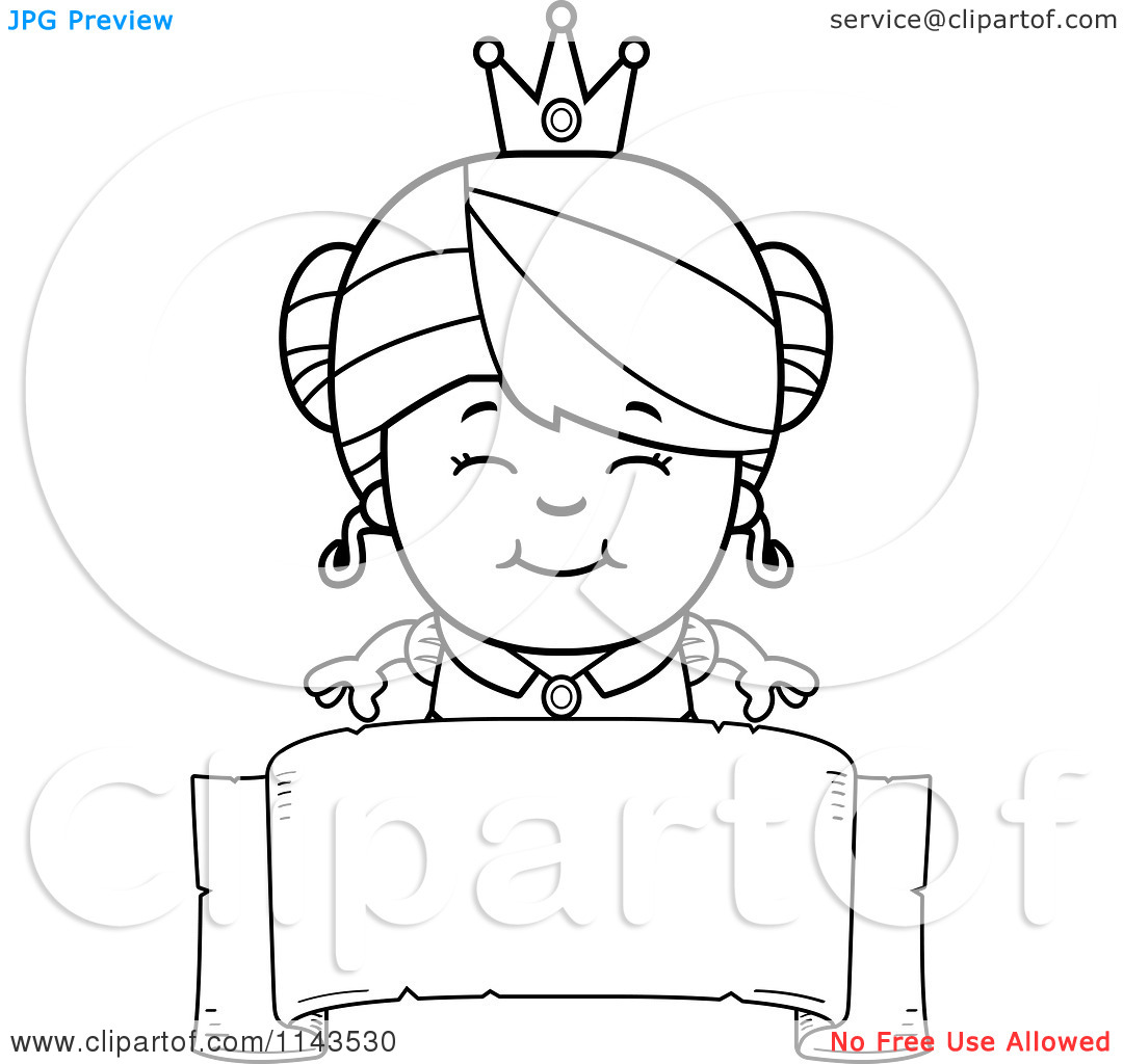 Cute Girl With Princess Dress Clipart.