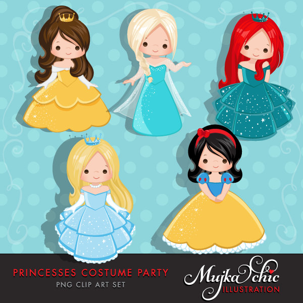 Princess Clipart, cute characters, Graphics, Costume Party.