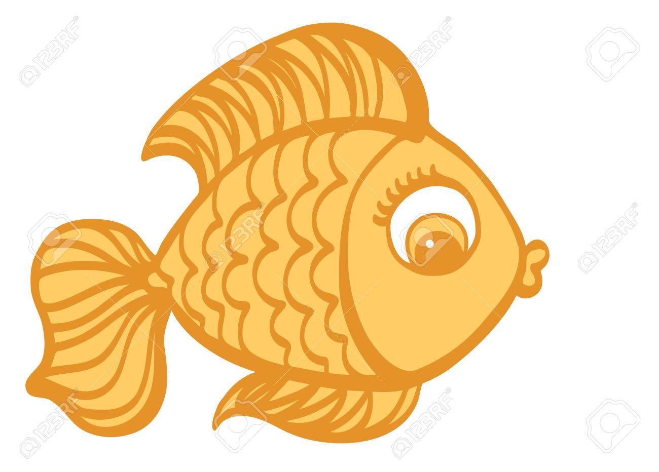 Cartoon cute Goldfish hand drawn vector illustration..
